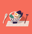 bowl with ramen served with chopsticks and spoon vector image