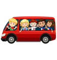 Boys and girls on red van vector image vector image
