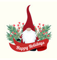 christmas card with tree branches and gnome vector image vector image