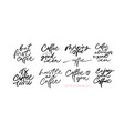 coffee lettering collection brush calligraphy vector image