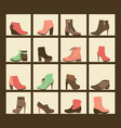 collection of shoes on shelves of shop vector image vector image