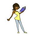 comic cartoon woman reading book vector image vector image