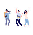 couple and photographer photo session happy vector image vector image