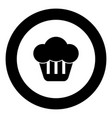 cupcake icon black color in round circle vector image