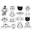 Cute cat heads set in hand drawn vector image vector image