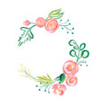 cute spring watercolor flower wreath with vector image