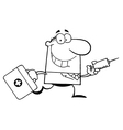Doctor with needle cartoon vector image vector image