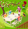family barbecue isometric background vector image vector image