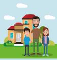 father and brothers standing house vector image vector image