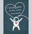 funny spacemen love happy valentines day greeting vector image vector image