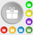 Gift box icon sign Symbol on eight flat buttons vector image