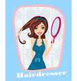 hair stylist work on woman hairstyle vector image