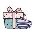 happy valentines day wrapped gift box and coffee vector image
