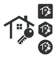House key icon set monochrome vector image vector image