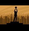human champion silhouette with cup vector image