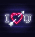 i love you neon heart with arrow sign vector image vector image