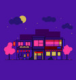 japanese houses night flat flat a building vector image