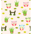 Lamb And Grass Story Pattern vector image vector image