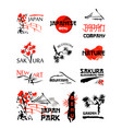 logo templates set with asia landscapes buildings vector image vector image