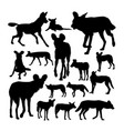 lycaon african wild dog silhouettes vector image vector image