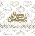 merry christmas card with christmas toys white vector image vector image