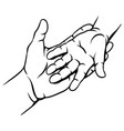 mom holds the child hand vector image