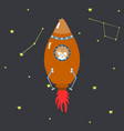 orange space shuttle with cute cartoon style vector image vector image