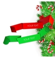 origami paper banners christmas design vector image vector image