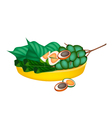 Ripe Areca Nuts and Betel Leaves on Gold Tray vector image vector image