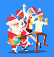 santa claus dancing with group of people and vector image