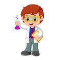scientist or professor holding flask vector image
