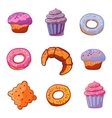 set baking products dessert icons flat style vector image