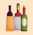 set red wine bottles vector image vector image