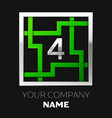 silver number four logo symbol in the square maze vector image vector image