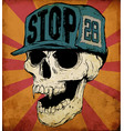 skull wearing cap vector image