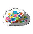 sticker colorful pattern cloud shape formed by vector image vector image