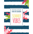summer vibes flat card as special seasonal offer vector image vector image