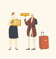 tourist female character evaluate luxury hotel use vector image
