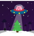 ufo rabbit with christmas tree vector image vector image