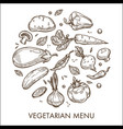 vegetarian menu vegetable harvest organic food vector image