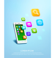 White smartphone with cloud of application icons vector image vector image