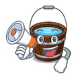 with megaphone wooden bucket character cartoon vector image vector image