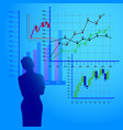 woman considers economic charts business charts vector image