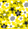 yellow and black textures flowers vector image