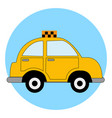 yellow taxi car on white background vector image vector image