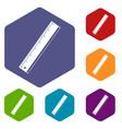 yardstick icons set hexagon
