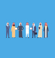 arabic business men group full length arab vector image