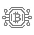 bitcoin chip line icon video card or gpu vector image vector image