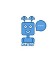 blue linear chatbot logo with bubble vector image vector image