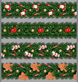 border set with santa claus gingerbread man vector image